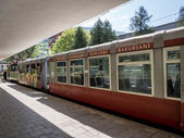 "BORJOMI, GEORGIA - MAY 06: ""Kukushka train in Borjomi on May 06, 2013. The train goes between Borjomi-Bakuriani was built by the Romanovs and it serves tourists and the fans of skiing since 1902 — Stock Photo"