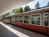 "BORJOMI, GEORGIA - MAY 06: ""Kukushka train in Borjomi on May 06, 2013. The train goes between Borjomi-Bakuriani was built by the Romanovs and it serves tourists and the fans of skiing since 1902 — Stock Photo"