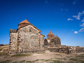 KGHZI, ARMENIA - APRIL 13: Sevanavank monastic complex on April 13, 2013. Founded in 874 Sevanavank on the Kghazi peninsula is by far the most popular tourist attraction of the lake Sevan region — Stock Photo