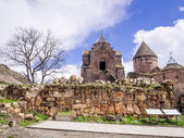 GOSH, ARMENIA - APRIL 13: Goshavank Monastery on April 13, 2013. Goshavank complex was built in 12-13th century, has remained in good condition which makes it a popular tourist destination — Stockfoto