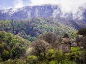 GOSH, ARMENIA - APRIL 13: Chapel of the Goshavank Monastery on April 13, 2013. Goshavank complex was built in 12-13th century, remains in good condition which makes it a popular tourist destination — Stock fotografie
