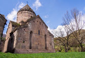 GOSH, ARMENIA - APRIL 13: Goshavank Monastery on April 13, 2013. Goshavank complex was built in 12-13th century, has remained in good condition which makes it a popular tourist destination. — 图库照片