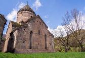 GOSH, ARMENIA - APRIL 13: Goshavank Monastery on April 13, 2013. Goshavank complex was built in 12-13th century, has remained in good condition which makes it a popular tourist destination. — Stock fotografie