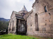 GOSH, ARMENIA - APRIL 13: Goshavank Monastery on April 13, 2013. Goshavank complex was built in 12-13th century, has remained in good condition which makes it a popular tourist destination. — Photo