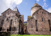 GOSH, ARMENIA - APRIL 13: Goshavank Monastery on April 13, 2013. Goshavank complex was built in 12-13th century, has remained in good condition which makes it a popular tourist destination. — Stockfoto