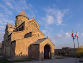 MTSKHETA, GEORGIA - MARCH 24: Svetitskhoveli Cathedral in Mtskheta on March 24, 2014. Mtskheta is the historical capital of Georgia located 20 km from Tbilisi — Stock Photo