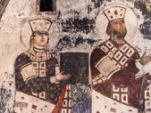 VARDZIA, GEORGIA - MARCH 23, 2014: Queen Tamar on frescos in the built in the 12th century Church of Dormition in Vardzia cave city-monastery in Georgia, Caucasus — 图库照片