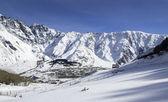 The town of Stepantsminda, in Caucasus mountains — Stock Photo