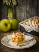 Slice of apple pie and apples — Stock Photo