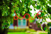 Inscription love on background of green trees — Foto Stock