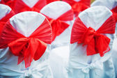 Wedding ceremony chairs with bows — Stock Photo