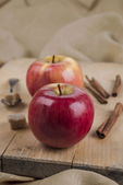 Two red apples on wooden board and spices — Stock Photo