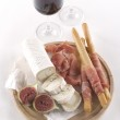 Two glass of red wine and snacks — Stock Photo #46233055