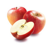 Honeycrisp red apples and half — Stock Photo