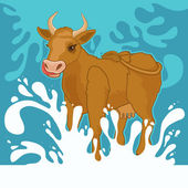 Cow and milk splashes — Stock Vector