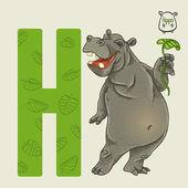 Letter H hippo — Stock Vector