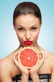 Lips and fruit. — Stock Photo