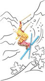 Skier in jump. — Stock Photo