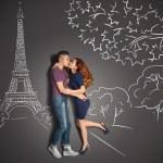 Romantic kiss in Paris. — Stock Photo #51027073