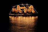 Sailing ship in the night sea — Stock Photo