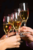 People hands with champagne — Stok fotoğraf
