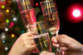 People hands with champagne — Foto Stock