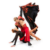 Dancers in national costumes — Stock Photo