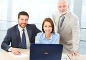 Boss and his team — Stock Photo
