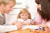 Happy family drawing — Stock Photo