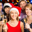 Happy business colleagues wishing you Merry Christmas — Stock Photo