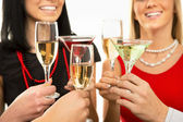 Hands with champagne glasses — Stockfoto