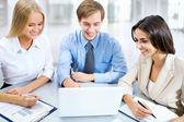 Business people discuss project — Stok fotoğraf