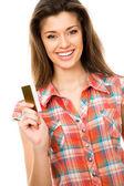 Mulher com cartão de crédito — Fotografia Stock