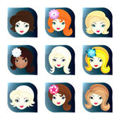 Glass buttons with girl faces — Stock Vector