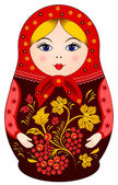 Matryoshka Doll in Khokhloma style with berries — Stock Vector