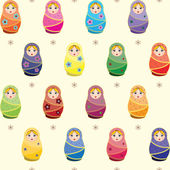 Seamless pattern with russian traditional dolls Matryoshkas — Stock Vector