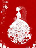 Bride silhouette, floral card in white and red colours — Stock Vector