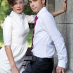 Groom and bride - extravagant couple. — Stock Photo #46173929