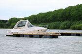 Yacht anchored at marina. — Stock Photo