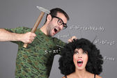 Concept - Education. Putting information in head. Hammer knowledge into a head. A man is hammering nails into a girl's head. Fast learning method. — Stock Photo