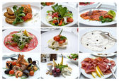 Collage of Various Italian Dishes. Italian Cuisine. Snacks. — Stock Photo