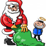 Santa Claus and good boy — Stock Vector #44584409