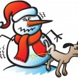 Dog urinating on snowman — Stock Vector