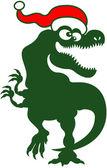 Christmas Tyrannosaurus Rex — Stock Vector