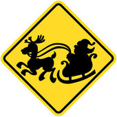Yellow traffic sign of crossing Santa Claus — Stock Vector