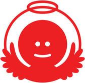 Red Christmas angel avatar — Stock Vector
