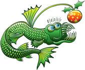 Deep sea fish with Christmas ball — Stok Vektör