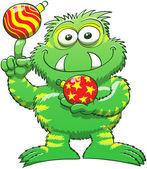Groene monster met kerstballen — Stockvector