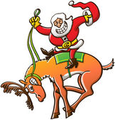 Santa Claus riding reindeer — Stock Vector
