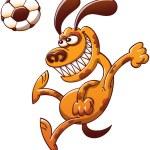 Постер, плакат: Brave dog heading a soccer ball